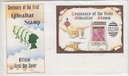 Gibraltar 1986 Centenary Of The First Gibraltar Stamp M/s FDC (F3945) - Gibraltar
