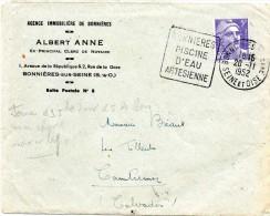 """1952 -  5fr Marianne De Gandon N°883. Seul Sur Lettre. Tarif Imprimé. Obl Daguin """"BONNIERES PISCINE D'EAU ARTESIENNE"""" - Marcophilie (Lettres)"""