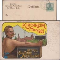 Allemagne 1902. Entier Timbré Sur Commande. Exposition D'industrie Kirchheim. Moustachu, Marteau, Muscles, Cheminées - Umweltverschmutzung
