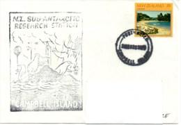 Polaire New Zealand Antarctic Research. Base Campbell Island. 1982. Cachet Illustré. - Bases Antarctiques