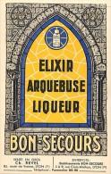- Ref -H163 - Publicite - Elixir Arquebuse Liqueur - Bon Secours - Lyon - Rhone - Au Verso Flacon Sport Pour Le Camping - Publicité