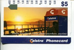 """(2 Phonecard) - Australia Used """"multi-hole"""" Postcard - Phone Box - Australia"""
