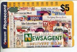 """(2 Phonecard) - Australia Used """"multi-hole"""" Postcard - Newspaper - Australia"""