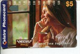 """(2 Phonecard) - Australia Used """"multi-hole"""" Postcard - Nescafé - Australie"""