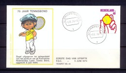 Netherlands/Hollande/ Pays Bas 1974 – FDC – Sports - Tennis - Lettres & Documents