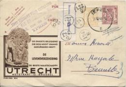 Entier Publibel 804 C.Ieper En 1948 V.Bruxelles étiquette Bilingue Inconnu Divers C.de Facteurs AP870 - Publibels