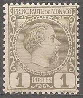 MONACO - 1885 1c Prince Charles III. Scott 1. Mint Hinged * - Neufs