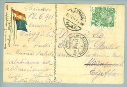 Heimat Österreich Schiffspost 1911-06-21 Brindisi-Alexandria Schiffs-O Baron Beck Lloyd - Briefe U. Dokumente