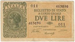 ITALIA - 2 LIRE ITALIA LAUREATA - (Firme: Ventura / Simoneschi / Giovinco - Decr. 23/11/1944) LUOGOTENENZA - [ 1] …-1946 : Koninkrijk