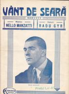 "Romania - "" Vant De Seara"" - Romanta - Nello Manzatti - Radu Gyr - Partitura - Partituren"
