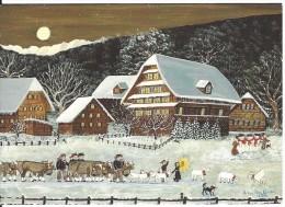 """""""ETOILE FILANTE"""", PAYSAGE NEIGE Maisons, Enfants, Bonhommes De Neige, Vaches, Moutons, Betsy Ross Koller 1996 - Peintures & Tableaux"""