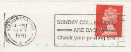 1991 COVER Sjogan  SUNDAY COLLECTIONS ARE BACK, CHECK  YOUR POSTING BOX Stamps Northamptonshire  Gb Post - Post