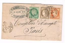 Lettre De Perpignan(T18) Pour Paris Avec N° 38+53+56.13 Juin 1876. Au Dos Paris 1 Poste Restante. SUP - 1849-1876: Période Classique