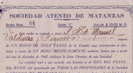 E1438 CUBA BONO SERIE C. 10$. SOC ATENEO DE MATANZAS. 1942 - Shareholdings