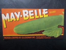 USA - Ancienne étiquette De Caisse De Fruits Et Légumes - (Concombres) - Fruits & Vegetables
