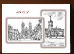 CP M 59201-59592 - CARTE POSTALE DESSIN 2 VUES - 59 MERVILLE - Merville