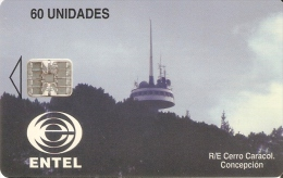 TARJETA DE CHILE DE ENTEL DE EL CERRO CARACOL    ANTENA TELECOMUNICACIONES - Chile