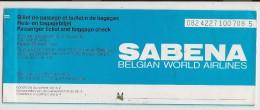 SABENA - BELGIAN WORLD AIRLINES - 1987 TICKET LISBOA-BRUXELLES-LISBOA - Including SPECIMEN Page - RARE !! - Europe