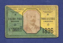 1896 Passe COMPANHIA CARRIS DE FERRO DO PORTO Valido para todas as linhas. Pass Ticket TRAM 19th century Portugal