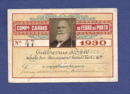 1930 Passe COMPANHIA CARRIS DE FERRO DO PORTO em nome Chefe dos Armazens Gerais. Pass Ticket TRAM 19th century Portugal