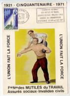 Carte Maximum  -  FRANCE  -  1971  -   Fdé. Nale. Mutiles Du Travail - Congrès - SAINT - ETIENNE - Postzegels