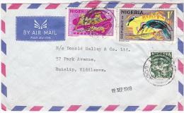 1968 AIr Mail NIGERIA  COVER  Stamps 3d 1/- Bird 4d Leopard  To GB - Nigeria (1961-...)