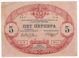 Montenegro , 5 Perpera, 1914, VF+ - Billets