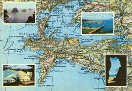 A62 / DEPT 29 CPSM 1970 PRESQU'ILE DE CROZON CARTE GEOGRAPHIQUE BRETAGNE VOYAGEE VOIR DOS - France