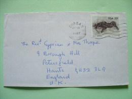 South Africa 1987 Cover To England - Petroglyphs - Black Wild Animal Antelope - Brieven En Documenten