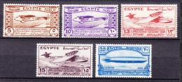 Egypt 1933 Airmail Mi#186-190 Mint Hinged - Egypt