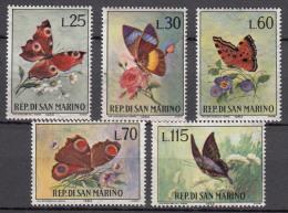 San Marino 1963 Butterflies Mi#776-780 Mint Never Hinged - Nuevos