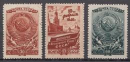 Russia SSSR 1946 Mi#1008-1010 Mint Hinged/used
