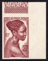 AEF 1947: N° 225a ** Non Dentelé En Coin De Feuille- Luxe - A.E.F. (1936-1958)