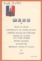 """Menu 1949 """" Veuves De Guerre 1939 - 1945 """" - Menus"""