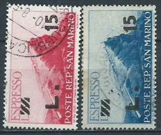 1947-48 SAN MARINO USATO ESPRESSO SOPRASTAMPATI 2 VALORI - VA27 - Express Letter Stamps