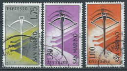 1966 SAN MARINO USATO ESPRESSO BALESTRA 3 VALORI - VA27 - Express Letter Stamps