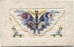 Embroidered Silk Postcard: BUTTERFLY 1919 - Bestickt