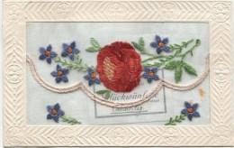 Embroidered Silk Postcard: FLOWER 1910 - Bestickt