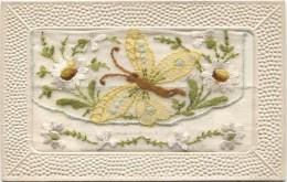 Embroidered Silk Postcard: BUTTERFLY 1910 - Bestickt