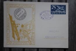 Entier Postal Carte Postale Commémorative Société D'aviation Nhora La Chaux De Fonds Cachet Lausanne Poste Aérienne - Luftpost