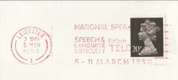1990 COVER Slogan NATIONAL SPEECH LANGUAGE DIFFICULTY Speak Week TELECOM Gb Health Stamps - Handicaps