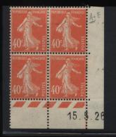Semeuse 40 C. Vermillon En Bloc De 4 Coin Daté - 1906-38 Semeuse Camée