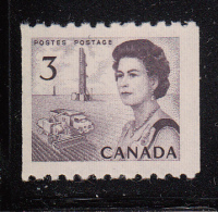 Canada MNH Scott #466 3c Prairies Coil Single - Centennials - 1952-.... Règne D'Elizabeth II