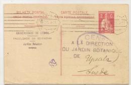 PORTUGAL - 1917 CENSORED POSTAL ENTIRE From LISBOA JARDIM BOTANICO To UPSALA - SWEDEN - Postal Stationery
