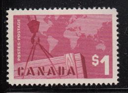 Canada MNH Scott #411 $1 Crane And Map - Canadian Exports - 1952-.... Règne D'Elizabeth II