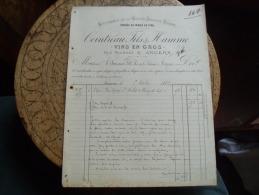 Facture 1882 Cointreau Fils Et Hamme Vin Angers - Francia