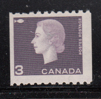 Canada MH Scott #407 3c Elizabeth II Cameo Issue Coil Single - 1952-.... Règne D'Elizabeth II