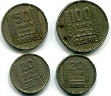 ALGERIE - Lot De 4 Monnaies - TURIN - 100 F 1952 / 50 F 1949 / 20 F 1949 Et 1956 - Algerien