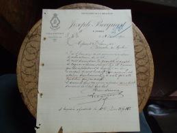 Facture 1910 Jumet Joeph Becquart Distillerie Bruhaute - France