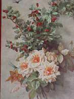 Cpa FLEURS Signée PAUL De LONGPRE , ROSES, BAIES , LIBELLULE, 1906 DRAGONFLY &  FLOWERS  A/s   Recto Verso Prix Fixe - Fleurs